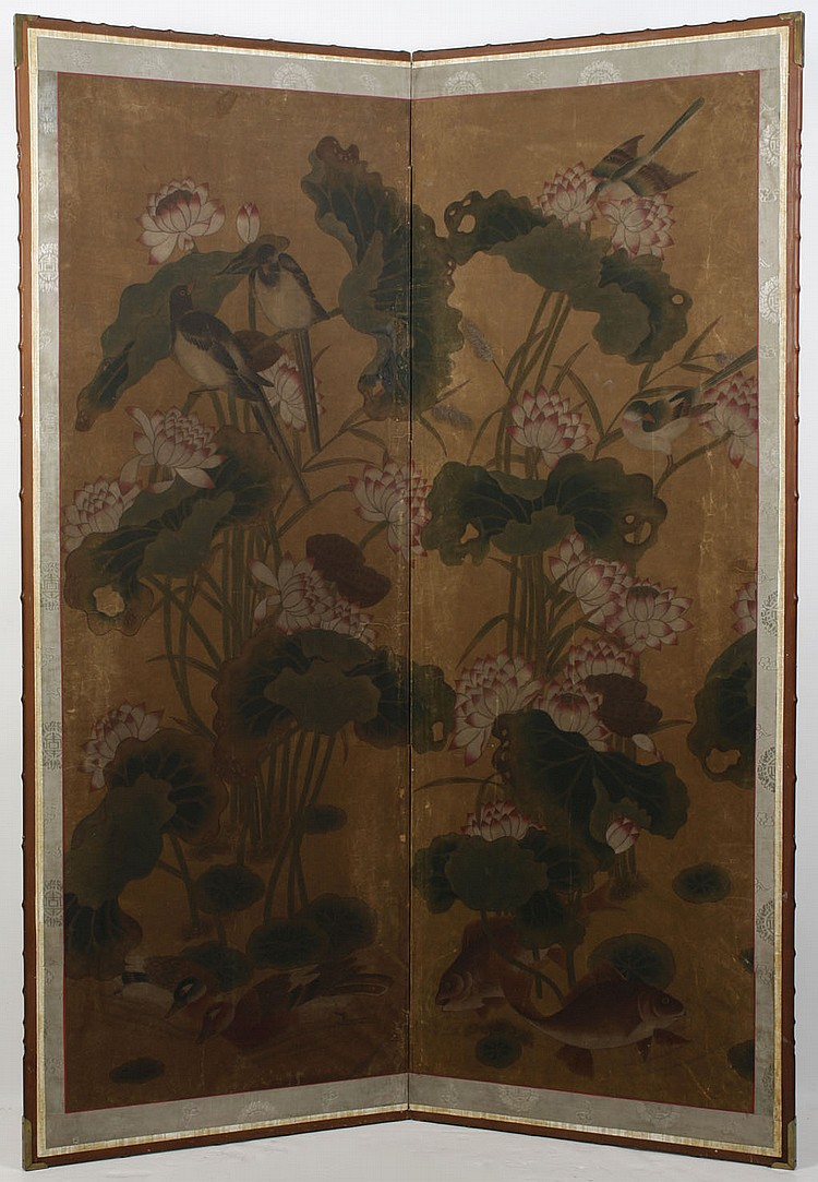 WATERCOLOR ON PAPER - Two paneled screen of lotus flowers and birds. Condition good, scattered wear and minor creasing. Early 20th c...