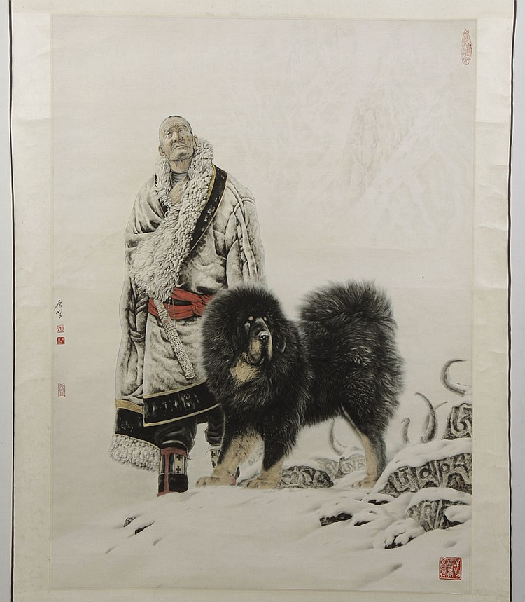 CHINESE SCROLL - Lithograph on paper with artist seals, shows man with large dog