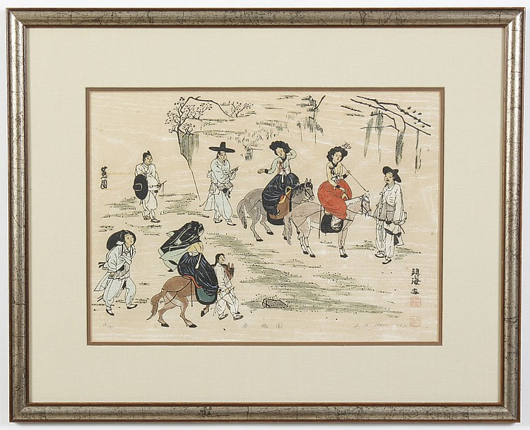 WOODBLOCK ON PAPER - Pencil signed J.H Han and numbered 13/30. Titled on reverse,