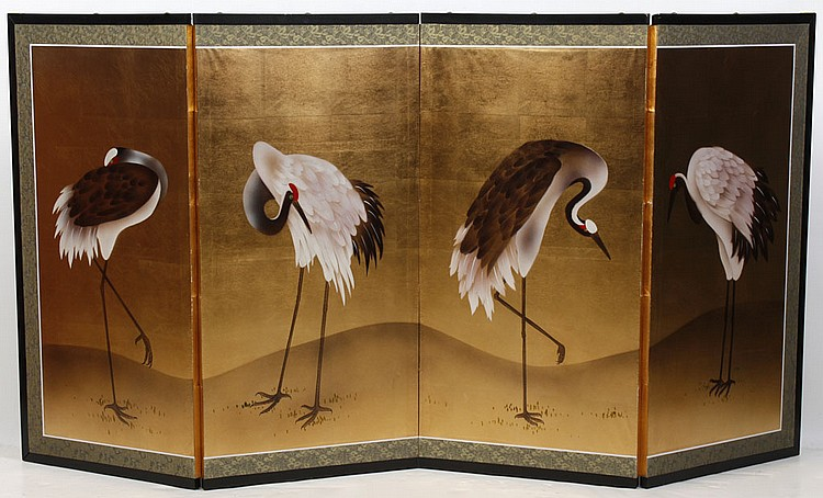 FOUR PANEL JAPANESE SCREEN - Folding screen shows standing cranes on a gold background with a woven green silk border. Condition goo...