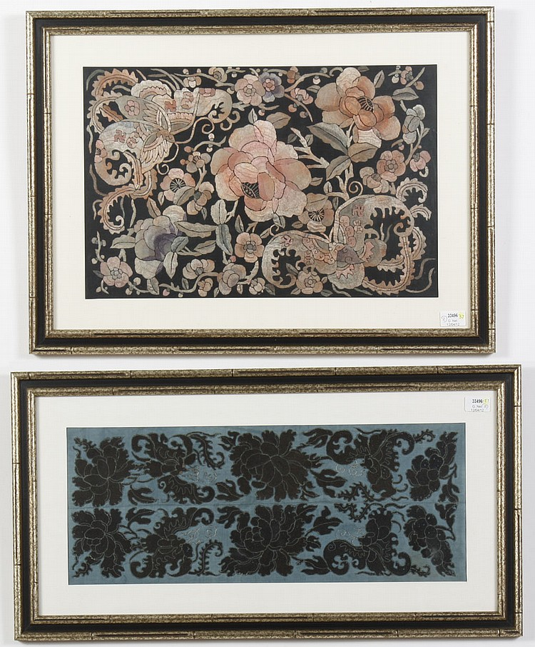 TWO FRAMED VINTAGE CHINESE SILK EMBROIDERIES - One framed fragment of Chinese silk embroidery, black thread on a blue ground shows b...