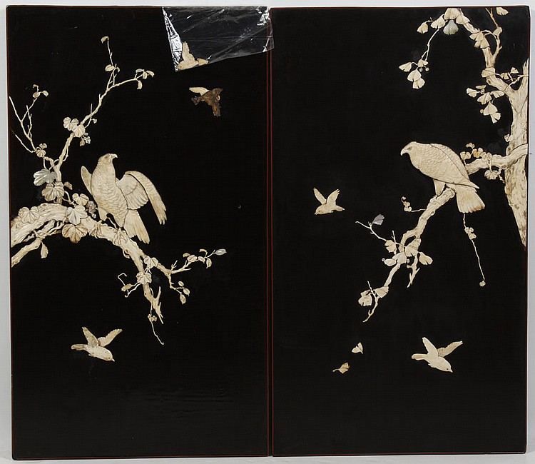 PAIR OF LACQUERED JAPANESE PANELS WITH BONE ONLAY - Scenes of eagles in ginko trees and small birds in flight. Condition good; some....