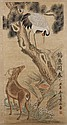 WATERCOLOR ON PAPER - Scroll of deer and crane; with artist seal. Condition good. Early to mid 20th century. 39