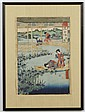 UTAGAWA YOSHITORA (active 1850-1880, Japan) WOODBLOCK ON PAPER - Women on bridge and in boat. Condition good; edge wear and light st...