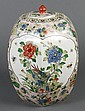 CHINESE FAMILLE ROSE PORCELAIN COVERED JAR - Painted with flowers and birds. With six character Kangxi mark to base. Condition good....