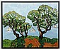 JACQUES LOISEAU (1920- , France) OIL ON CANVAS - Signed oil painting of trees with a view of the ocean and sailboats in distance. Co...