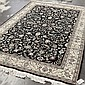 CARPET: HANDWOVEN SINO-KASHAN - Wool on a cotton warp with black field, vine and foliate lattice design with palmette-form accents, ...