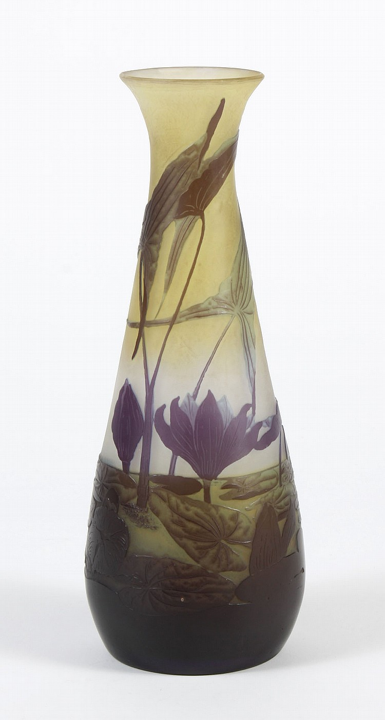 GALLE CAMEO GLASS VASE; POND LILY AND LEAF - Pond scene with water lilies and bog plants decorated in purple cameo with green shadin...