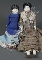 TWO CHINA HEAD DOLLS - 12