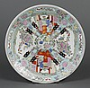 CHINESE PORCELAIN CHARGER - Decorated in a contemporary rose medallion style with various figures and flowers. Apparently unmarked....