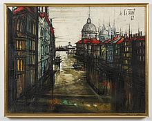 REGIS DE BOUVIER DE CACHARD (1929- , France) PAINTING - The oil on canvas is signed and dated at upper right and depicts a city view...