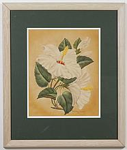 SHIRRELL GRAVES (1884-1954, CA) PAINTING - Signed at lower right, this watercolor on paper is a floral still life of white hibiscus....