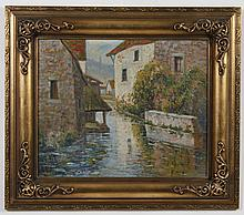 _ _ _ WOOD (Signature illegible) OIL PAINTING - Signed (see above) at lower left, the painting on board depicts houses near a canal...