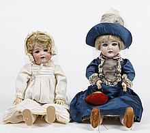 TWO BISQUE HEAD DOLLS - One 15.5