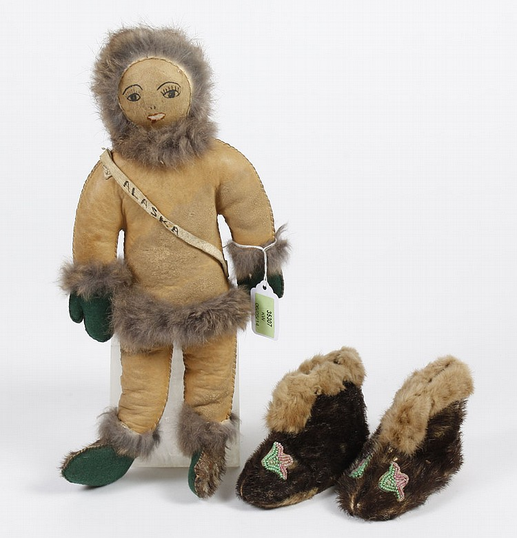 ALASKAN ESKIMO SEAL SKIN DOLL AND CHILD'S SEAL SKIN SLIPPERS - The 13