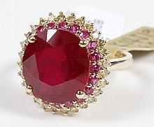 RUBY AND DIAMOND RING - The ring is of 14 kt