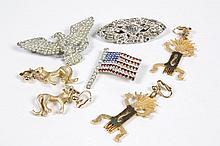 COSTUME JEWELRY: FIVE PIECES - Three rhinestone pins, one an eagle (3