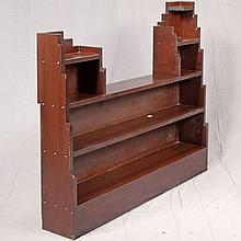 DISPLAY SHELF - Art deco architectural style of red stained fir with rectilinear stair-step influences. Condition good. Mid 20th cen...