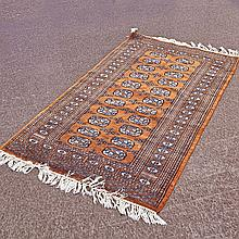 CARPET: HANDWOVEN BOKHARA - Wool on a cotton warp with two rows of traditional