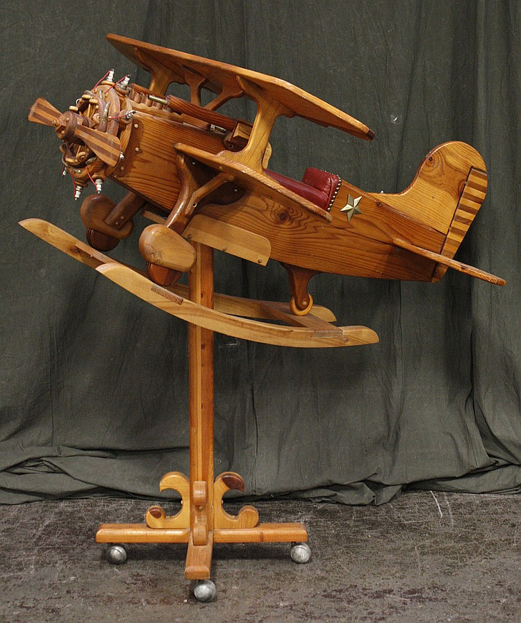 CHILD'S CRAFTED WOODEN BIPLANE ROCKER- Hand-built all pine constructed child's rocker with stand