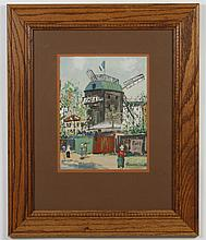 MAUNIER_ _ _ (illegible signature) GOUACHE PAINTING - Painting on paper of a French street scene with figures walking past a large b...