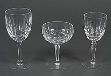 WATERFORD CRYSTAL STEMWARE - 18 Kildare pattern crystal goblets. Acid stamp Waterford on each base. Three sets of six: wine, water,...