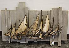 LES PERHACS (1940 - , CA) WALL SCULPTURE - Metal wall sculpture, signed at lower right, depicting sailboats, on a textured base. Con...