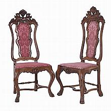 Pair of carved wood chairs, 18th century, D. João V.