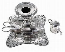 Portuguese silver chamberstick with scissors and snuffer, 1853/1861.