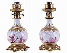 European porcelain pair of table lamps.