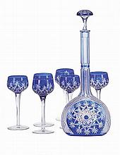 Set of 6 blue and white crystal glasses and bottle