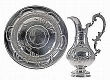 Portuguese silver ewer and bassin, late 19th/20th Century.