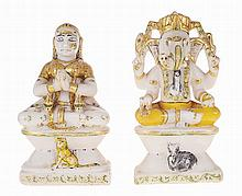A PAIR OF PAINTED AND GILDED WHITE MARBLE FIGURES OF GANESH AND FEMALE, INDIA, 19TH/20TH CENTURY
