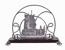Letter holder in Portuguese silver and rosewood decorated with the tower of belém.