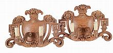 Pair of 2 light carved wood wall sconces.