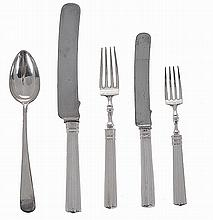 Portuguese silver set of 60 pieces, meat and fruit cutlery.