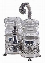 Portuguese silver, set of two jam jars and a sugar caster, 20th century. Hallmarked.