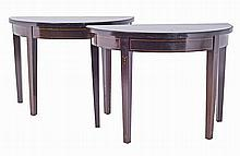 Pair of D shaped side tables.