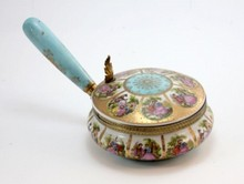 OLD VIENNA PORCELAIN HANDLED COVERED BOWL