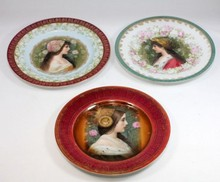 3 BAVARIAN PORCELAIN PORTRAIT PLATES OF BEAUTIES