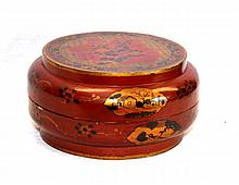 CHINESE RED WOOD COVERED LACQUERED BOWL
