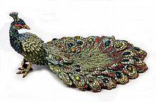 JAY STRONGWATER LARGE ENAMELED PEACOCK RING DISH