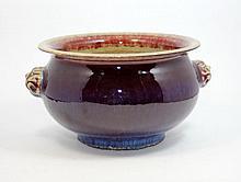 ANTIQUE CHINESE OXBLOOD GLAZE FLAMBE HANDLE BOWL