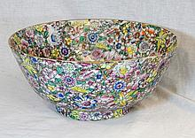 A LARGE 20th C CHINESE MILLEFIORE FLORAL BOWL