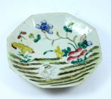 ANTIQUE CHINESE EXPORT ENAMEL ROOSTER BOWL