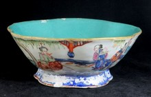 ANTIQUE CHINESE FAMILLE ROSE LOTUS FORM BOWL