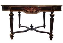 LOUIS XVI STYLE BRONZE MARQUETRY CENTER TABLE