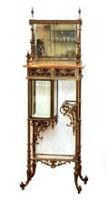 IMPRESSIVE ANTIQUE FRENCH BRONZE AND ONYX ETAGERE