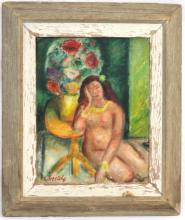 OIL PAINTING OF SEATED NUDE SIGNED L. SORETSKY