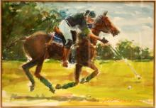 WATERCOLOR ON PAPER OF POLO PLAYER SIGNED